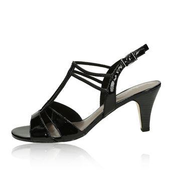 7378b4423a9e8 Tamaris dámske lesklé sandále na podpätku - čierne