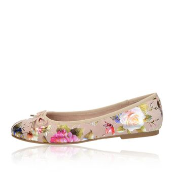 Tamaris dámske pohodlné balerínky s kvetovým motívom - ružové