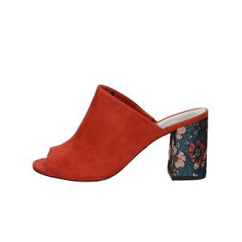 Tamaris dámske pohodlné šľapky na vysokom podpätku - červené
