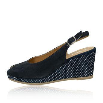 Tamaris dámske semišové sandále na klinovej podrážke - tmavomodré 38c907f01d6