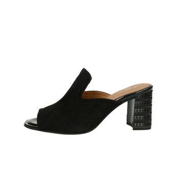 Tamaris dámske semišové štýlové šľapky na podpätku - čierne