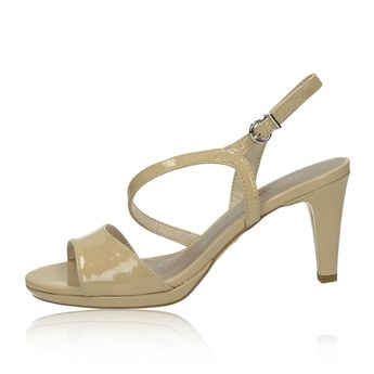 f856cccb93 Tamaris dámske štýlové lakované sandále na podpätku - béžové