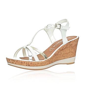 7b1df0fe13c4 Tamaris dámske štýlové sandále na klinovej podrážke - biele