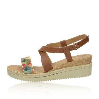 Tamaris dámske štýlové sandále na klinovej podrážke - hnedé