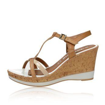 a4f1d739732c Tamaris dámske štýlové sandále na klinovej podrážke - koňakové - koňakové