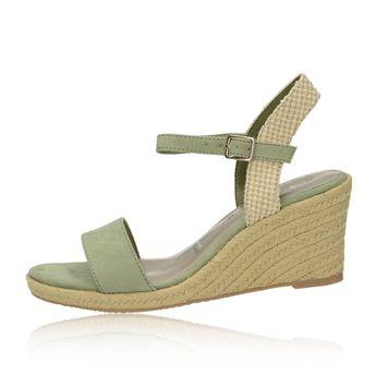 385af29a54dd Tamaris dámske štýlové sandále na klinovej podrážke - olivové