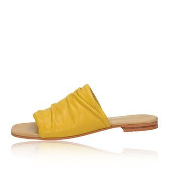 3ffc6f00bd51 Ten Points dámske kožené štýlové šľapky - žlté