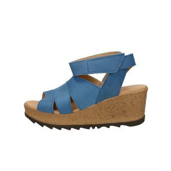 Ten Points dámske nubukové sandále na klinovej podrážke - modré