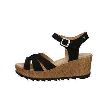 Ten Points dámske nubukové štýlové sandále na klinovej podrážke - čierne