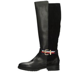 Tommy Hilfiger dámske kožené vysoké čižmy - čierne