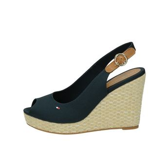 Tommy Hilfiger dámske štýlové sandále na klinovej podrážke - modré 0e3044b8312
