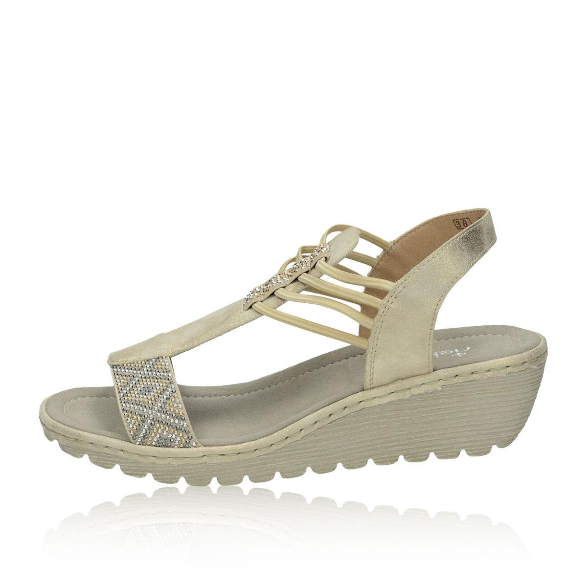 ... Rieker dámske elegantné sandále s ozdobnými kamienkami - béžové ... 9ca537f01f0