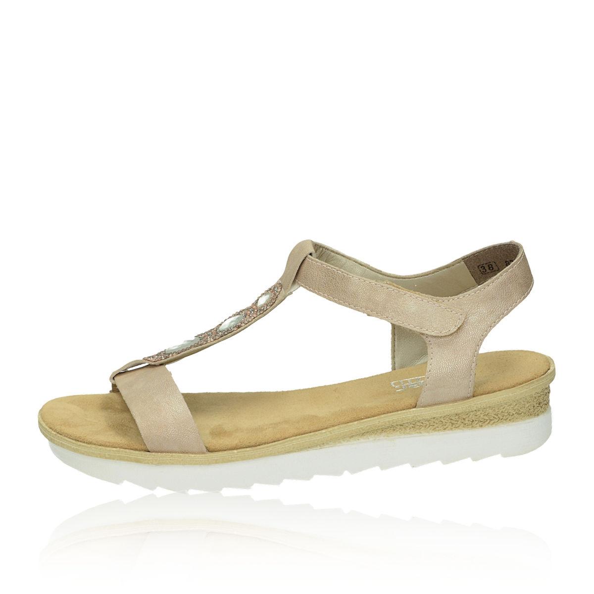 ... Rieker dámske sandále s ozdobnými kamienkami - béžové ... ea9a6790c9f