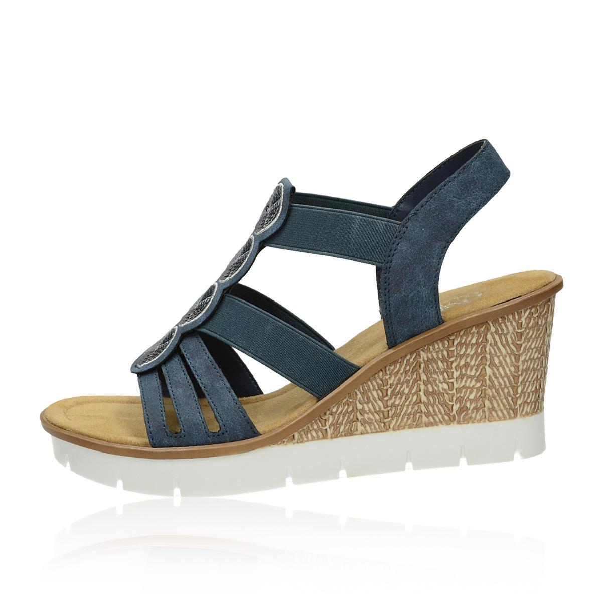 Rieker dámske štýlové sandále na klinovej podrážke - tmavomodré