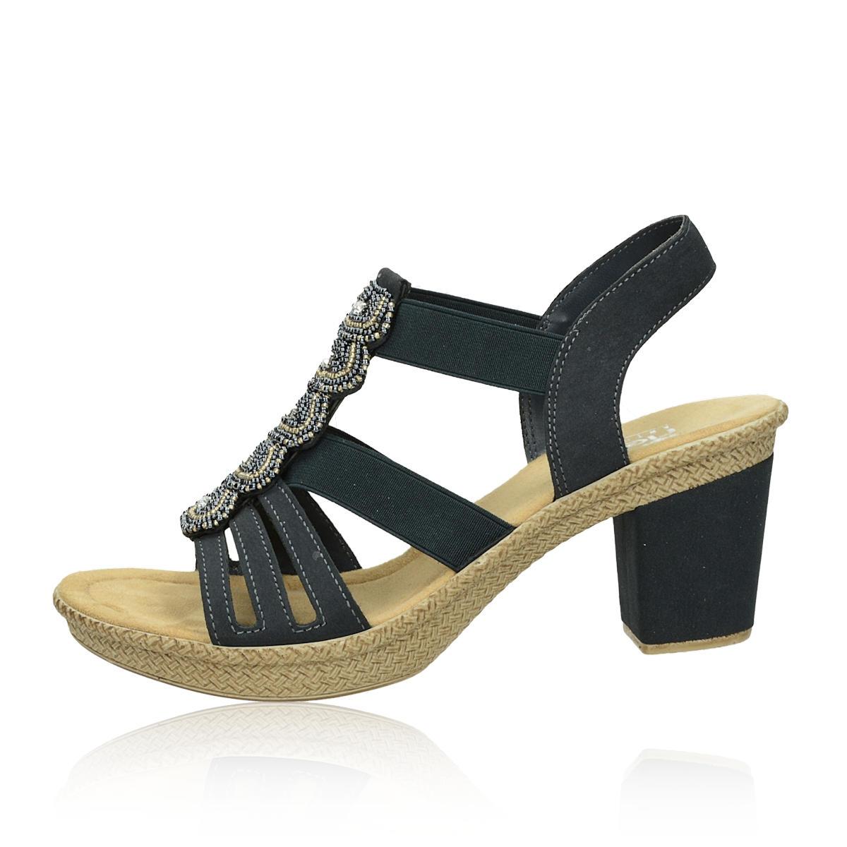 Rieker dámske štýlové sandále s ozdobnými kamienkami - tmavomodré
