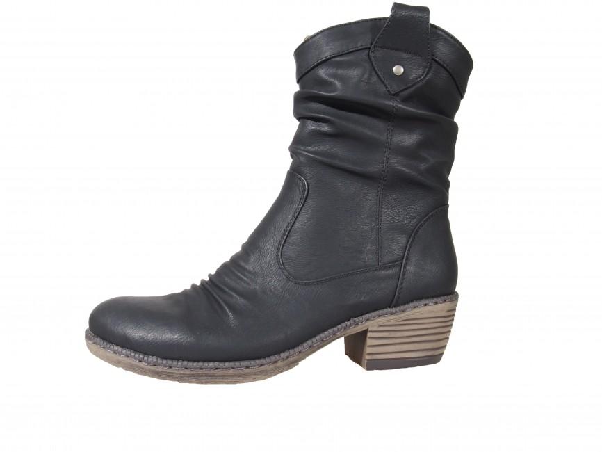... Rieker dámske nízke čižmy s nakrčeným materiálom - čierne ... e5aae52cbe2