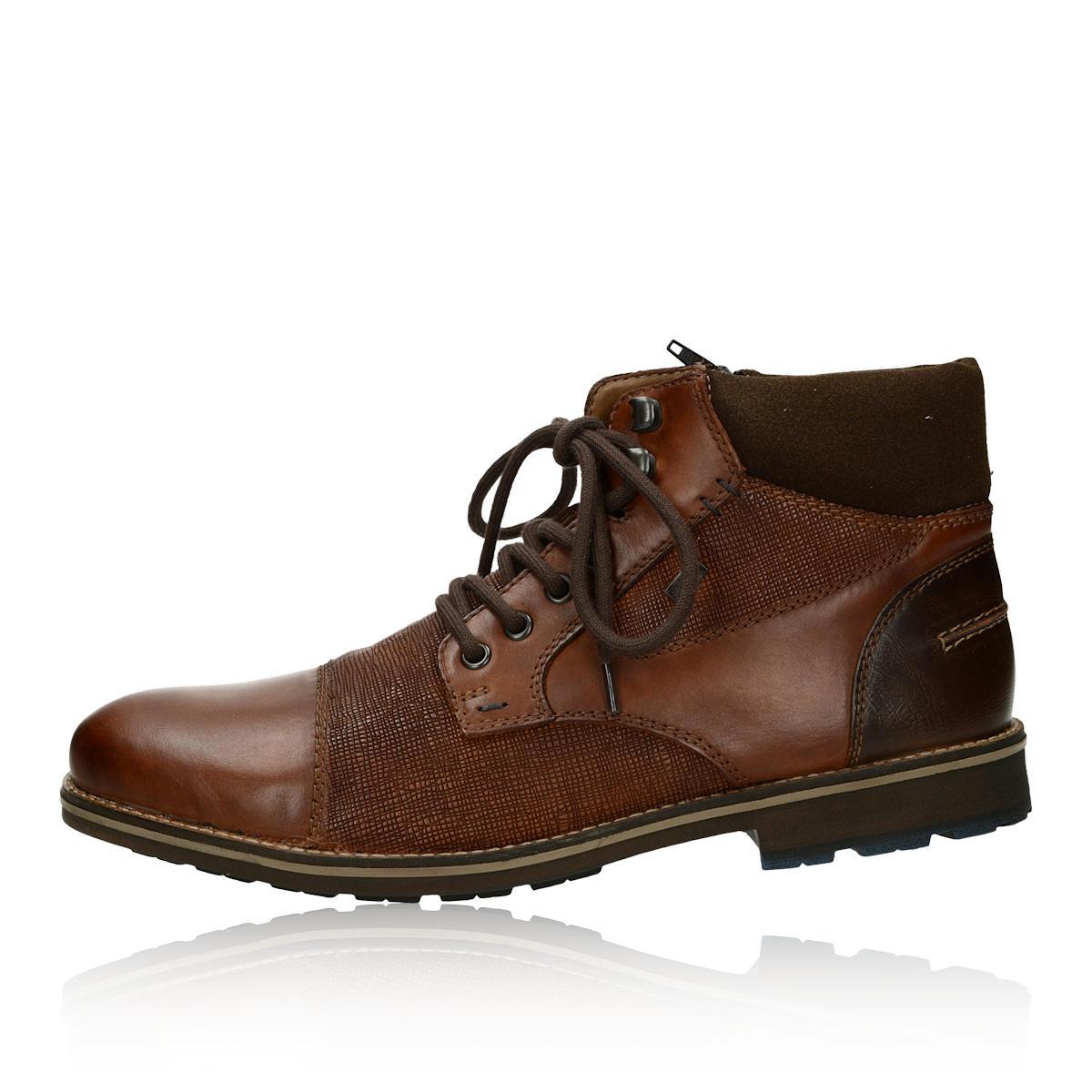 Rieker pánska štýlová členková obuv na zips - hnedá
