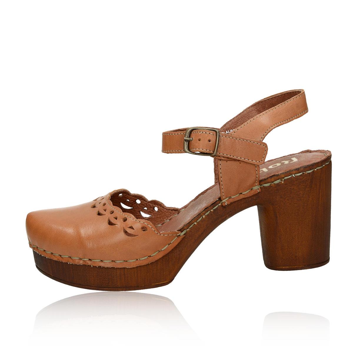 74ccab8689f2 ... Robel dámske kožené sandále na podpätku - hnedé ...
