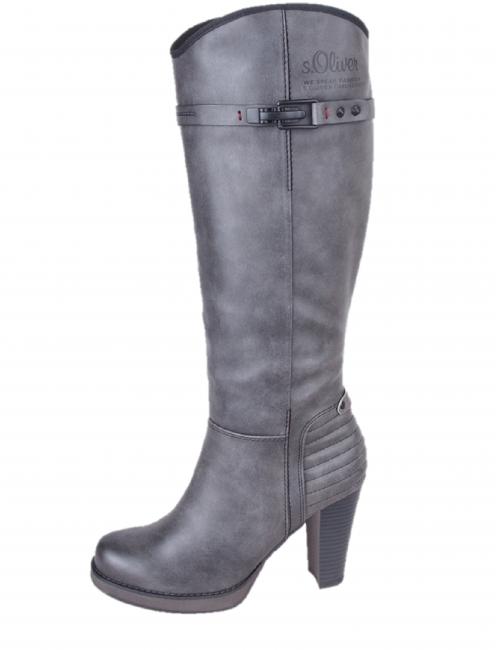 s.oliver dámske vysoké čižmy - šedé ... fadf90d8b65