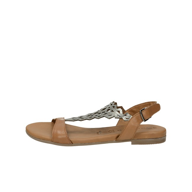 7bb6d4f22f6e ... Tamaris dámske kožené sandále na suchý zips - hnedé ...